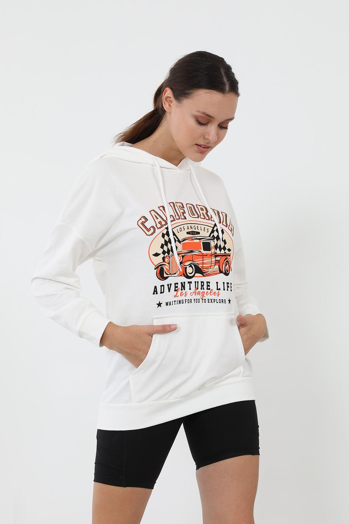 California Baskılı Sweatshirt-Beyaz