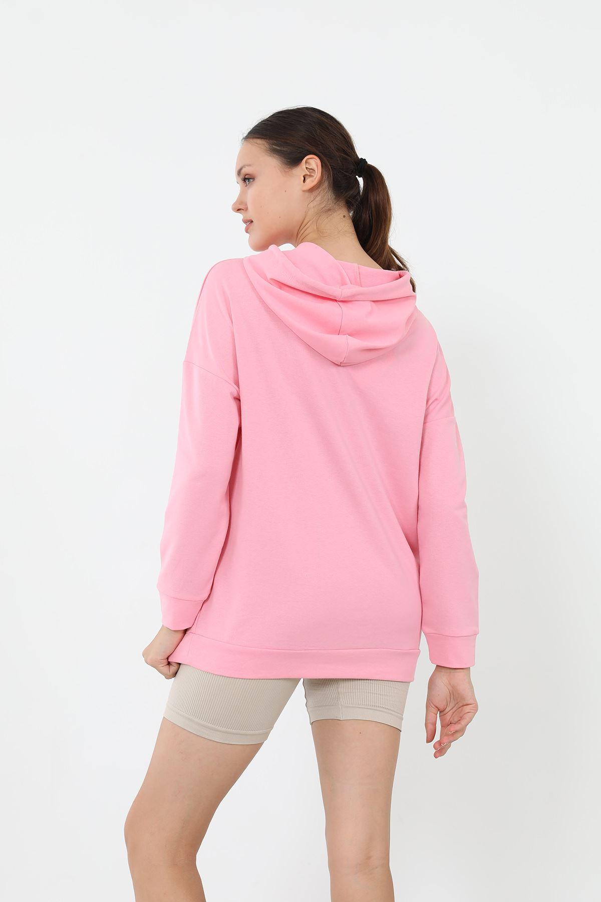 California Baskılı Sweatshirt-Pembe