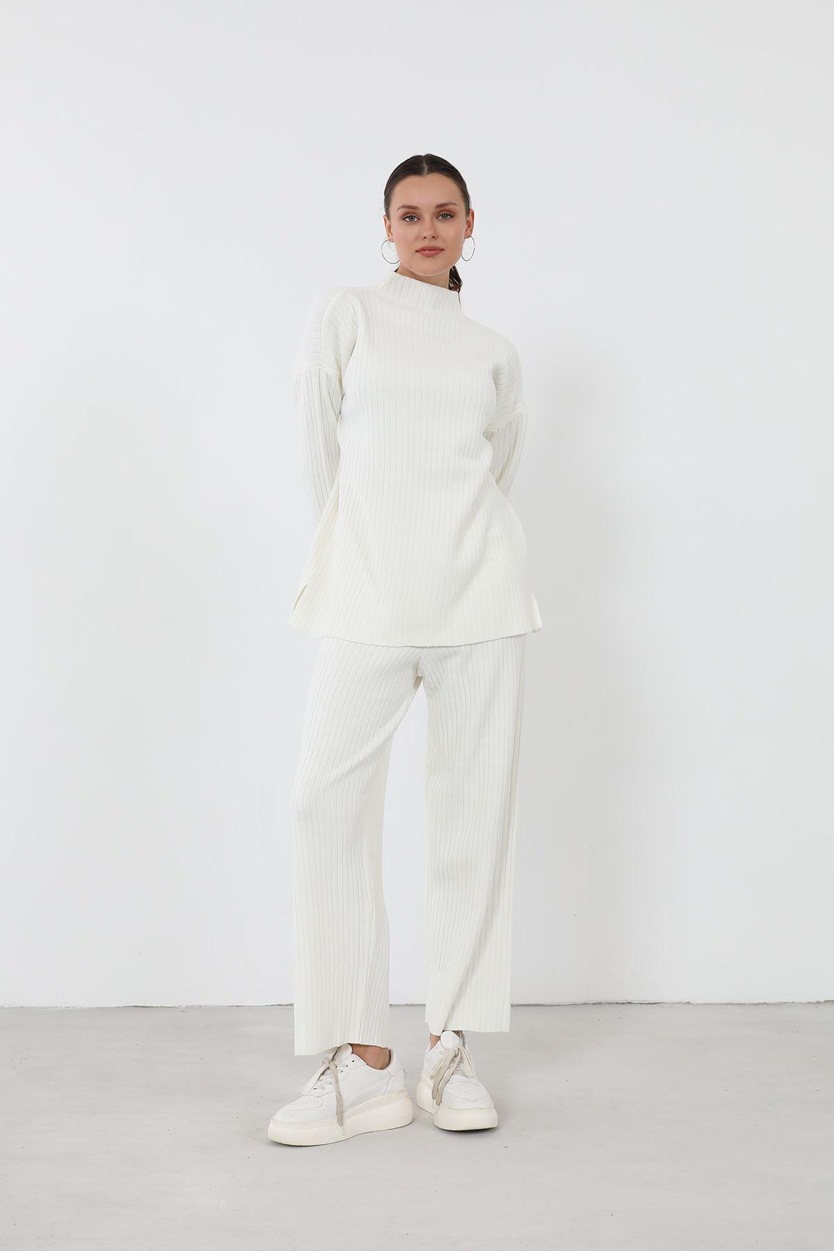 Fitilli Triko Takım-Beyaz