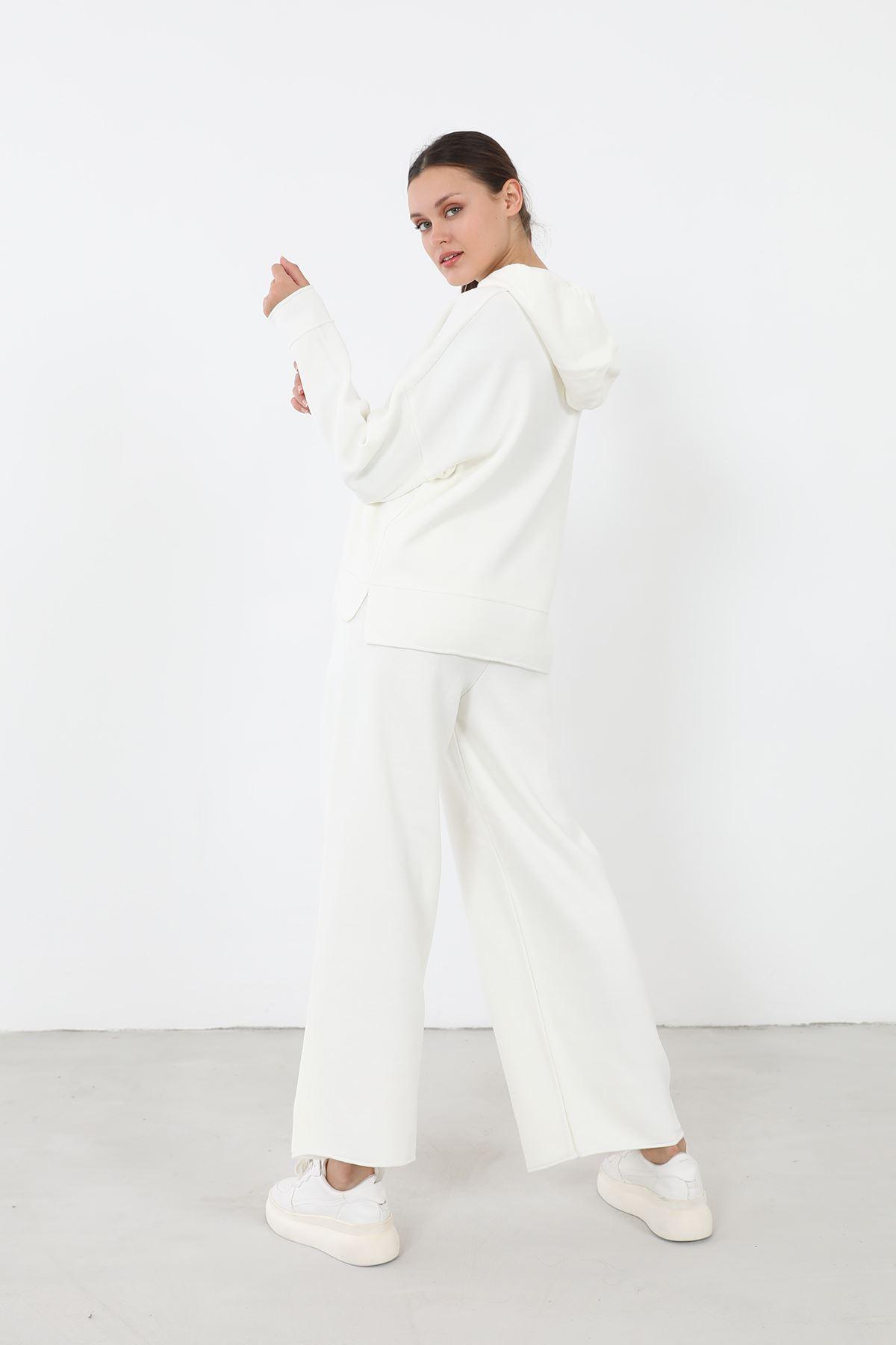 Kapşonlu Triko Takım-Beyaz