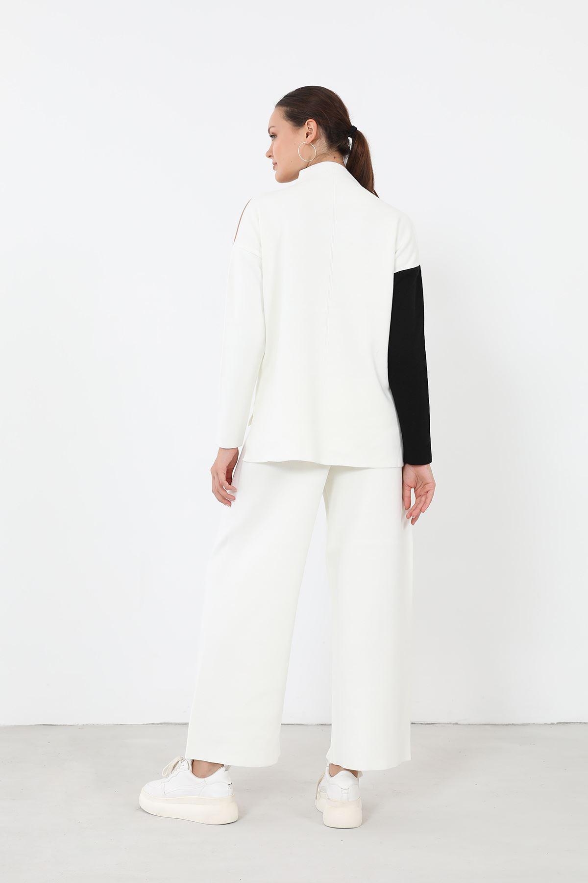 Garnili Triko Takım-Beyaz