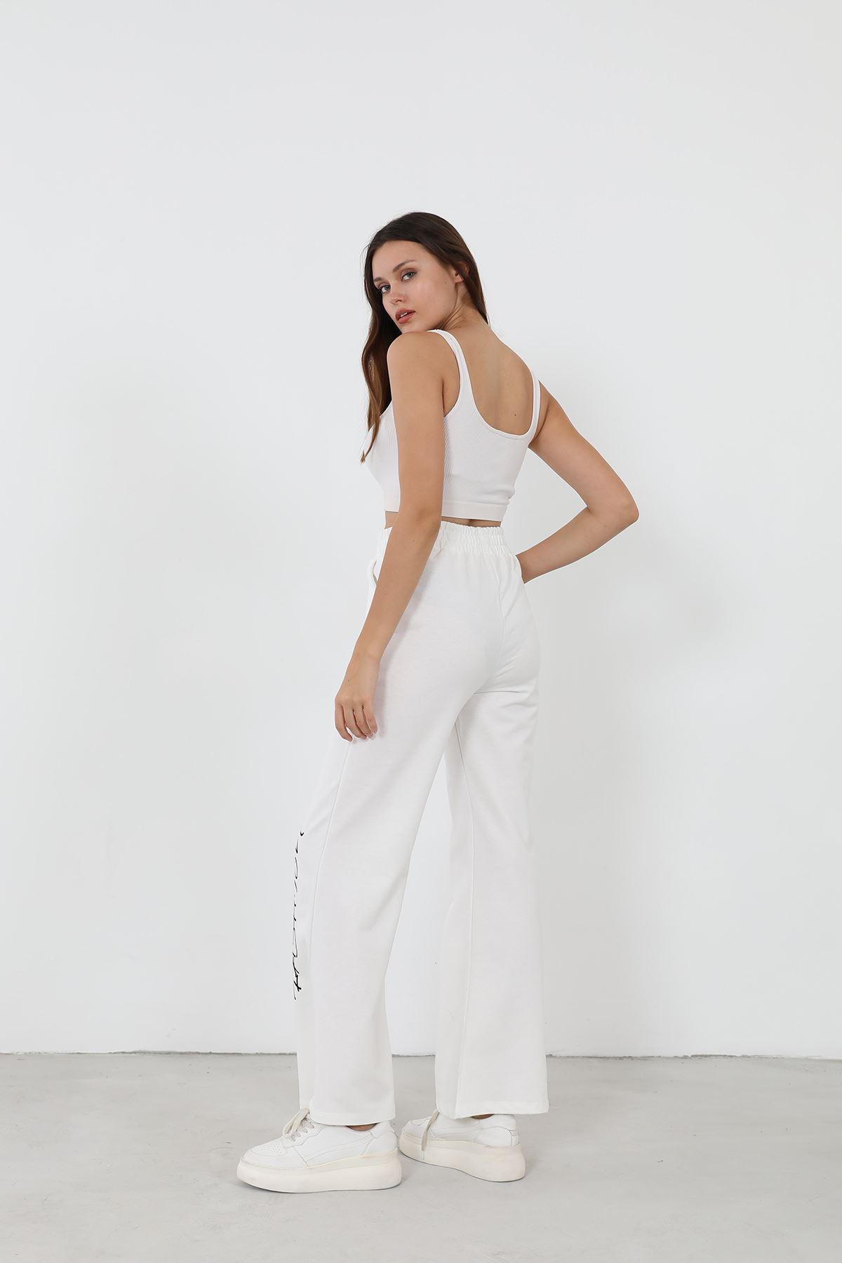 Style Baskılı Eşofman Altı-Beyaz
