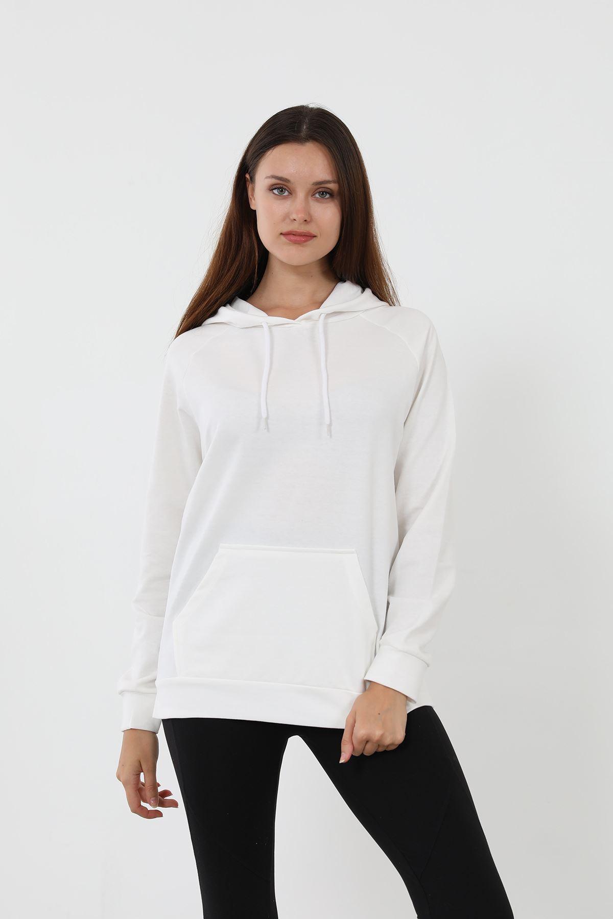 Kapşonlu Sweatshirt-Beyaz