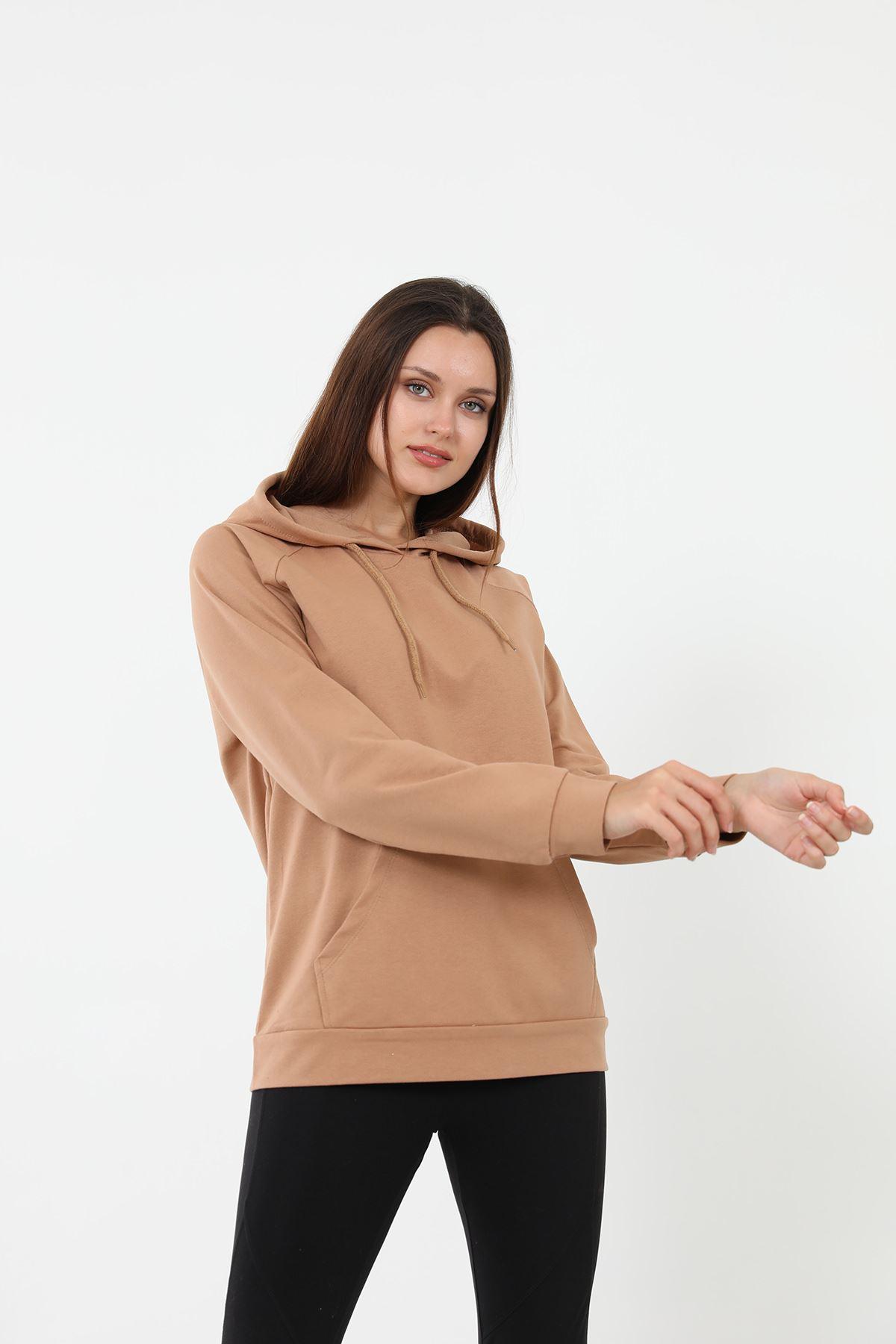 Kapşonlu Sweatshirt-Camel