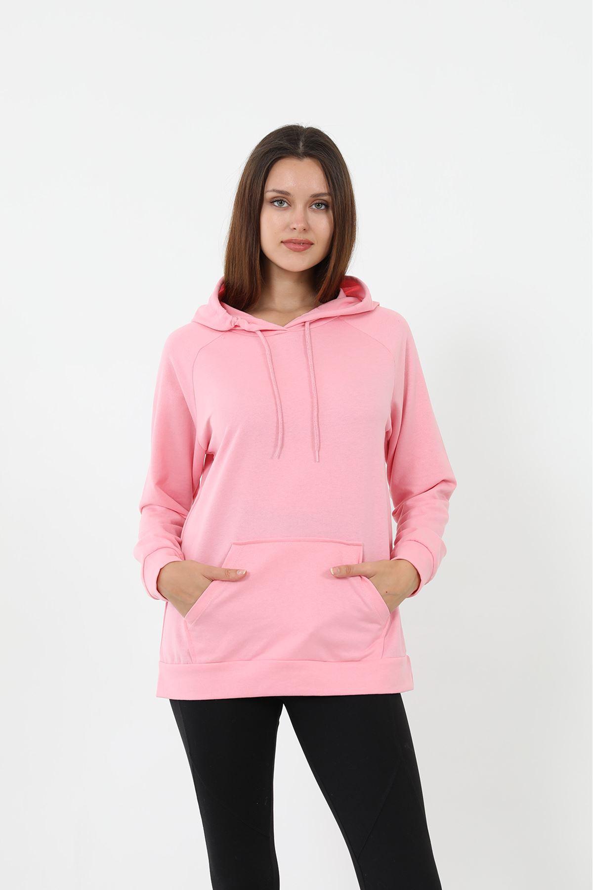 Kapşonlu Sweatshirt-Pembe