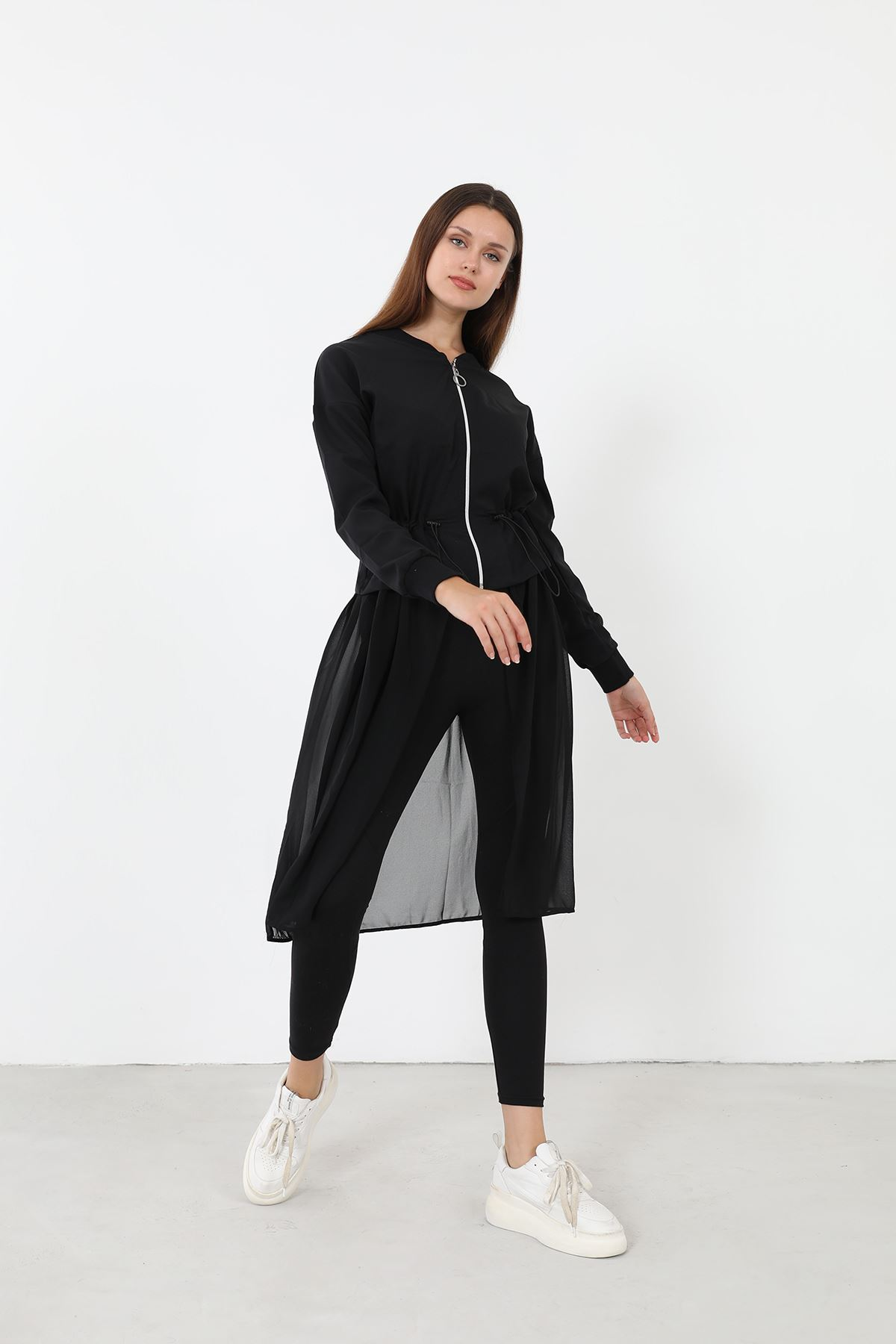 Altı Tül Sweatshirt-Siyah