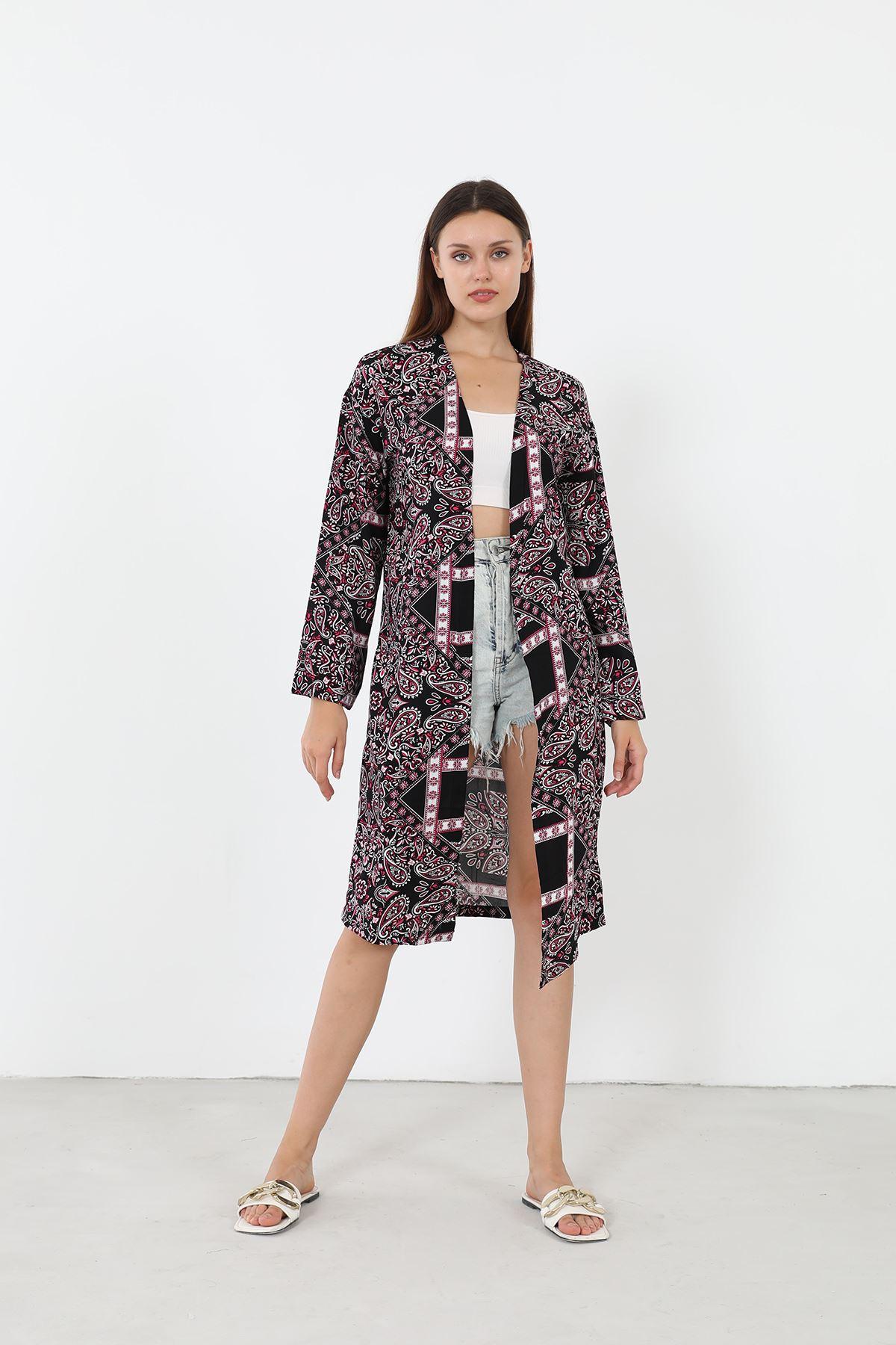 Desenli Kimono-Siyah
