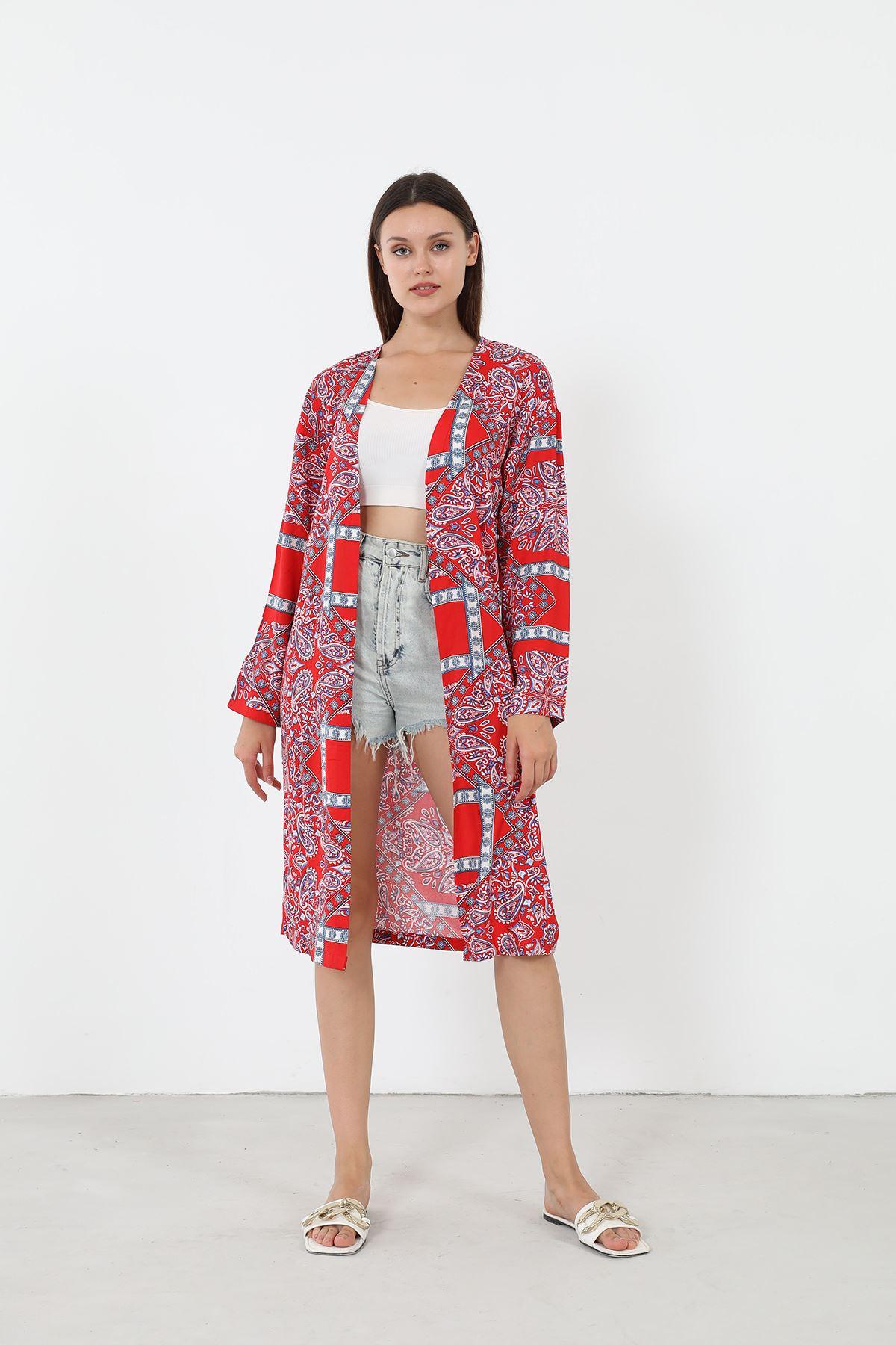 Desenli Kimono-Kırmızı