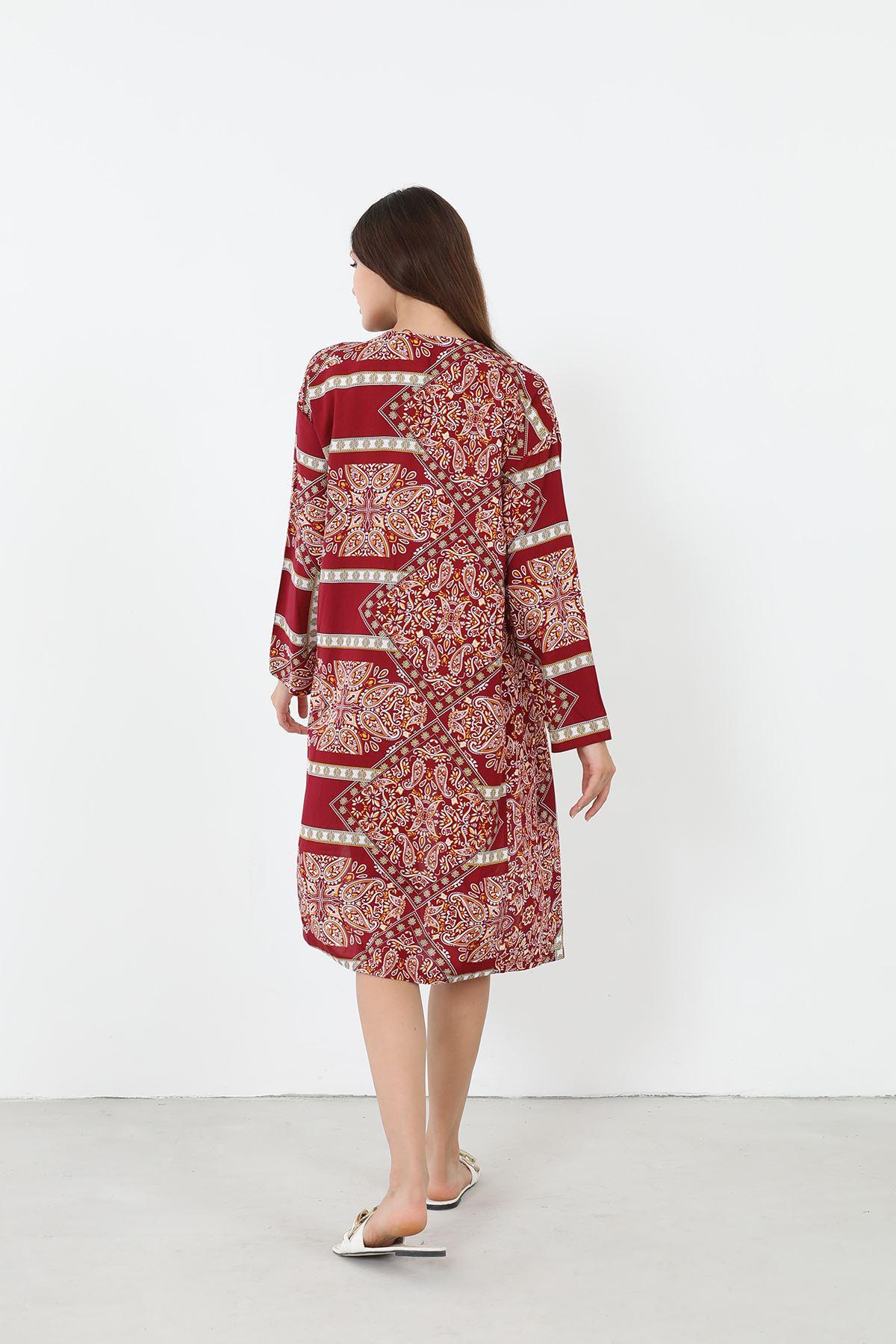 Desenli Kimono-Bordo