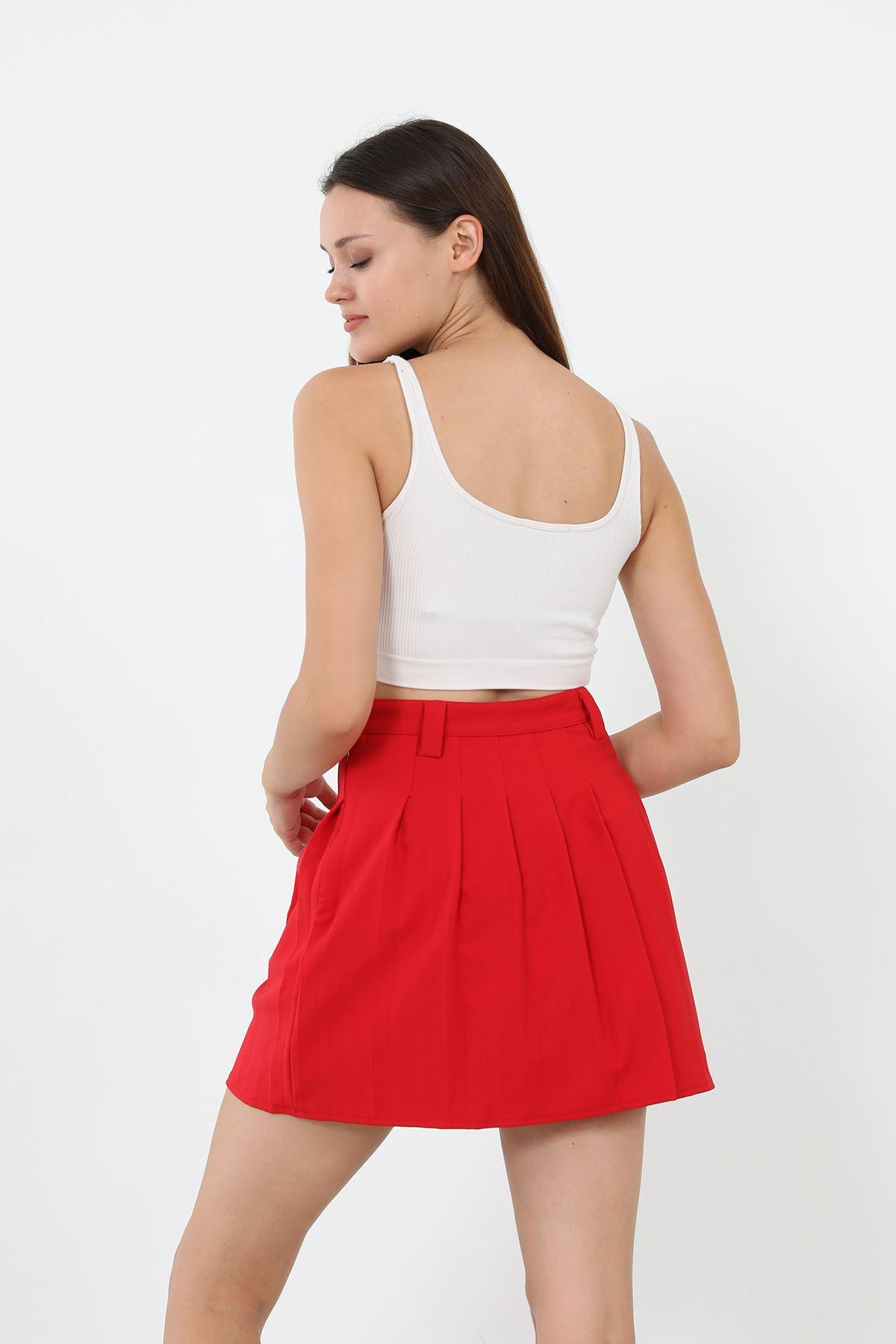 Pileli Mini Etek-Kırmızı