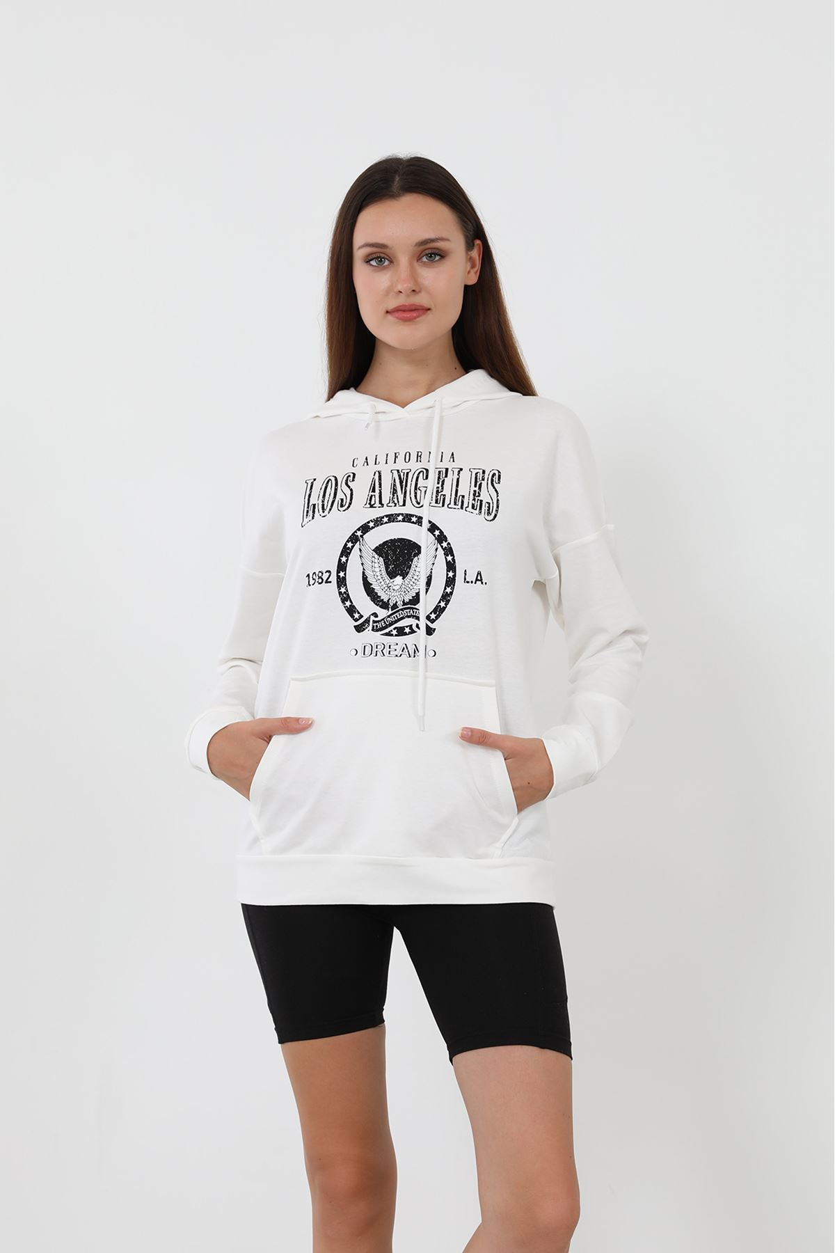 Los Angeles Sweatshirt-Beyaz