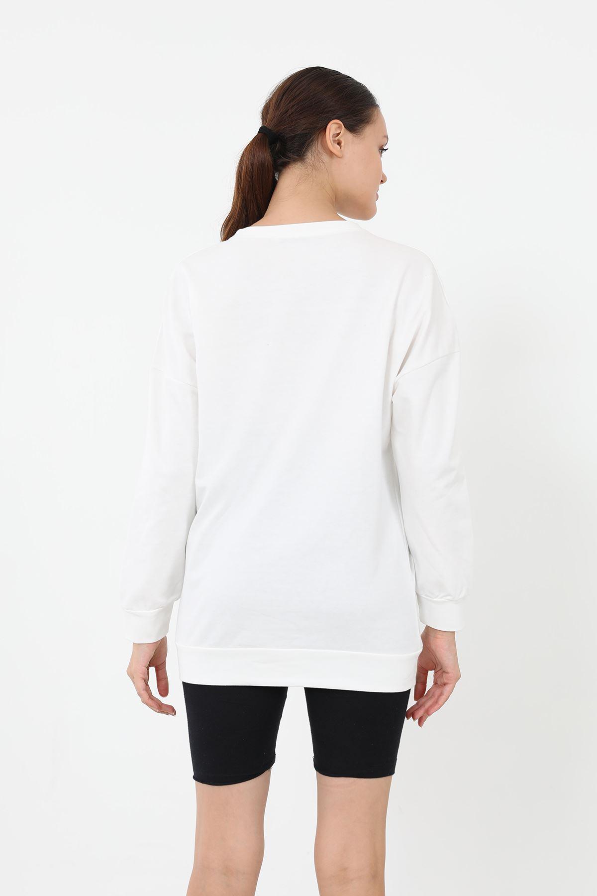 Newyork Baskılı Sweatshirt-Beyaz