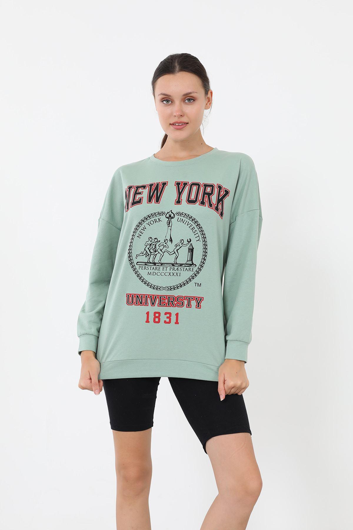 Newyork Baskılı Sweatshirt-Mint