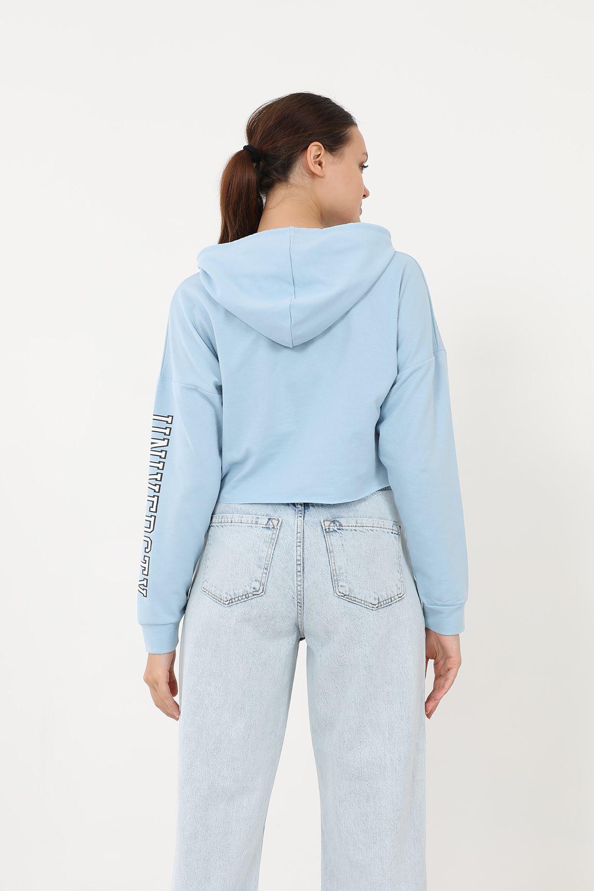 Kapşonlu Crop Sweathsirt-Mavi