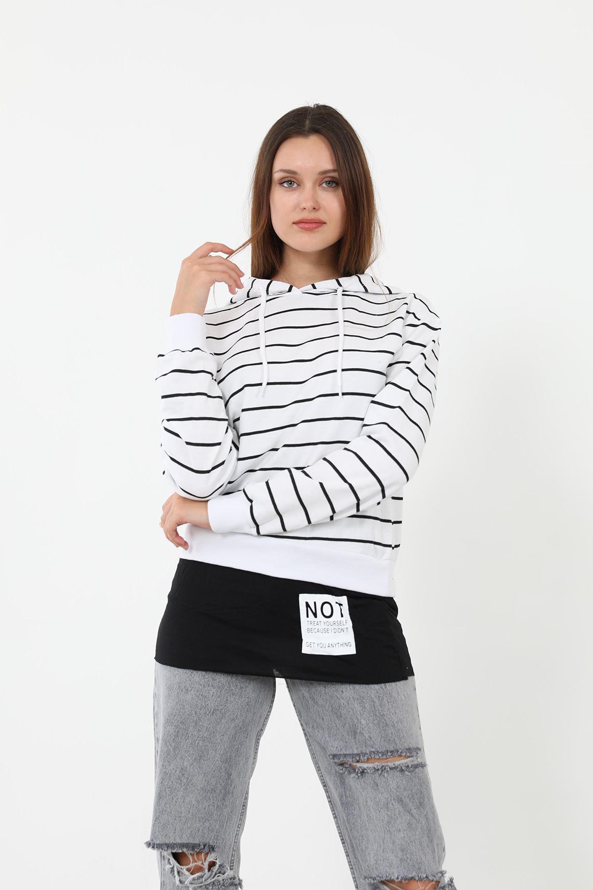 Çizgili Sweatshirt-Beyaz