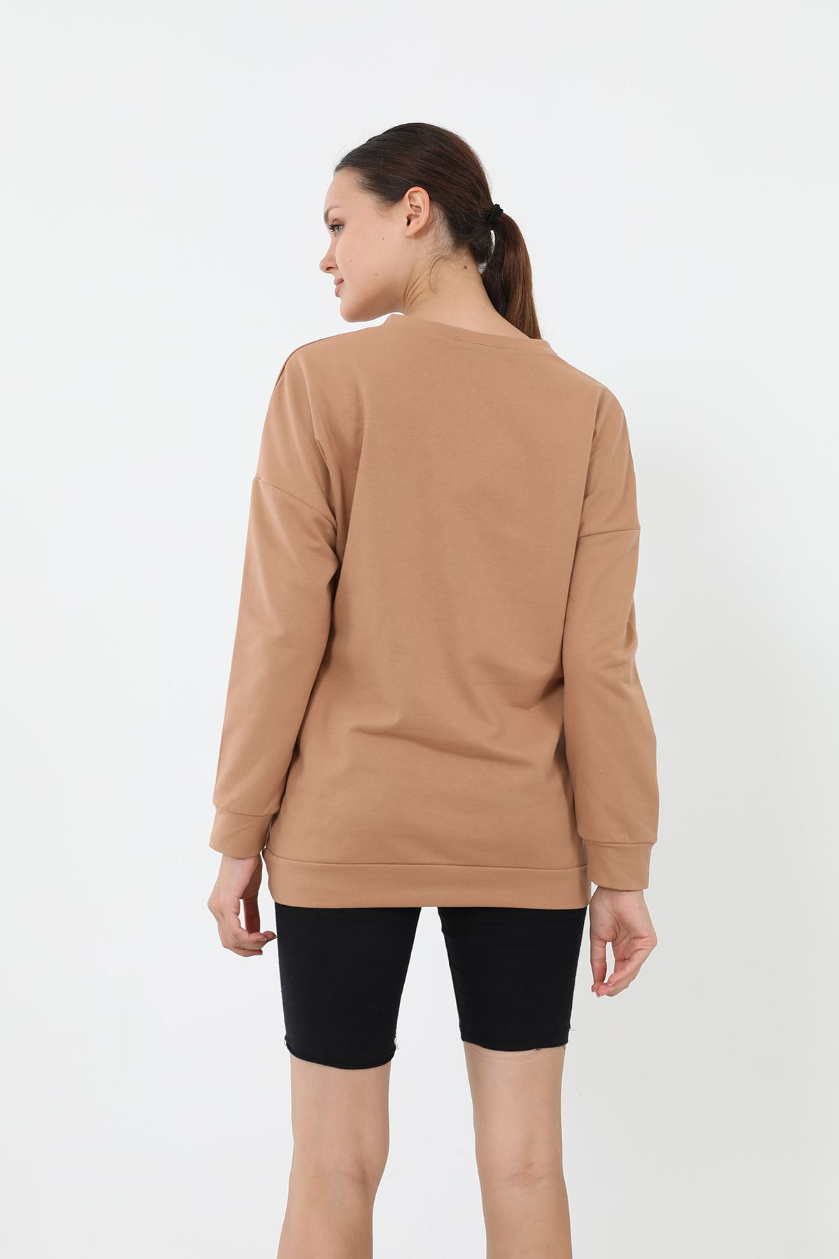 Newyork Baskılı Sweatshirt-Camel