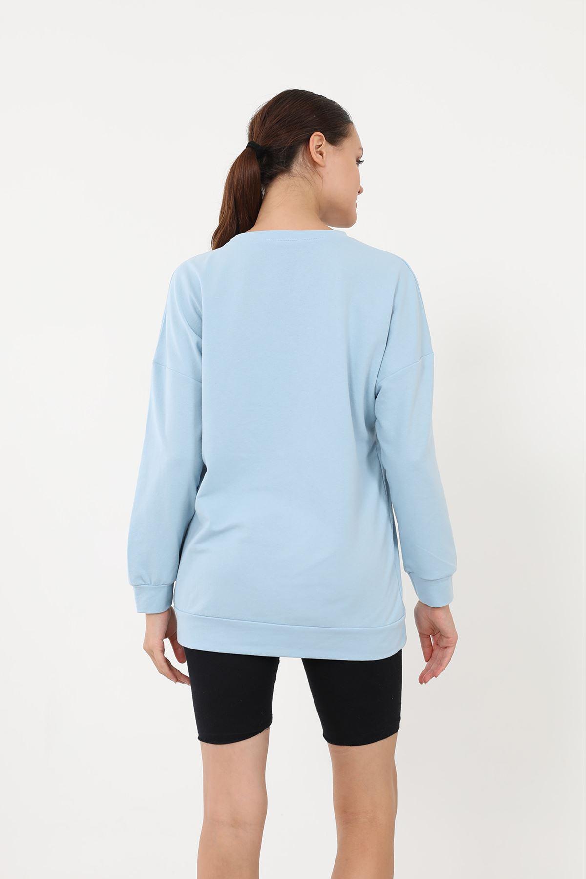 Newyork Baskılı Sweatshirt-Mavi