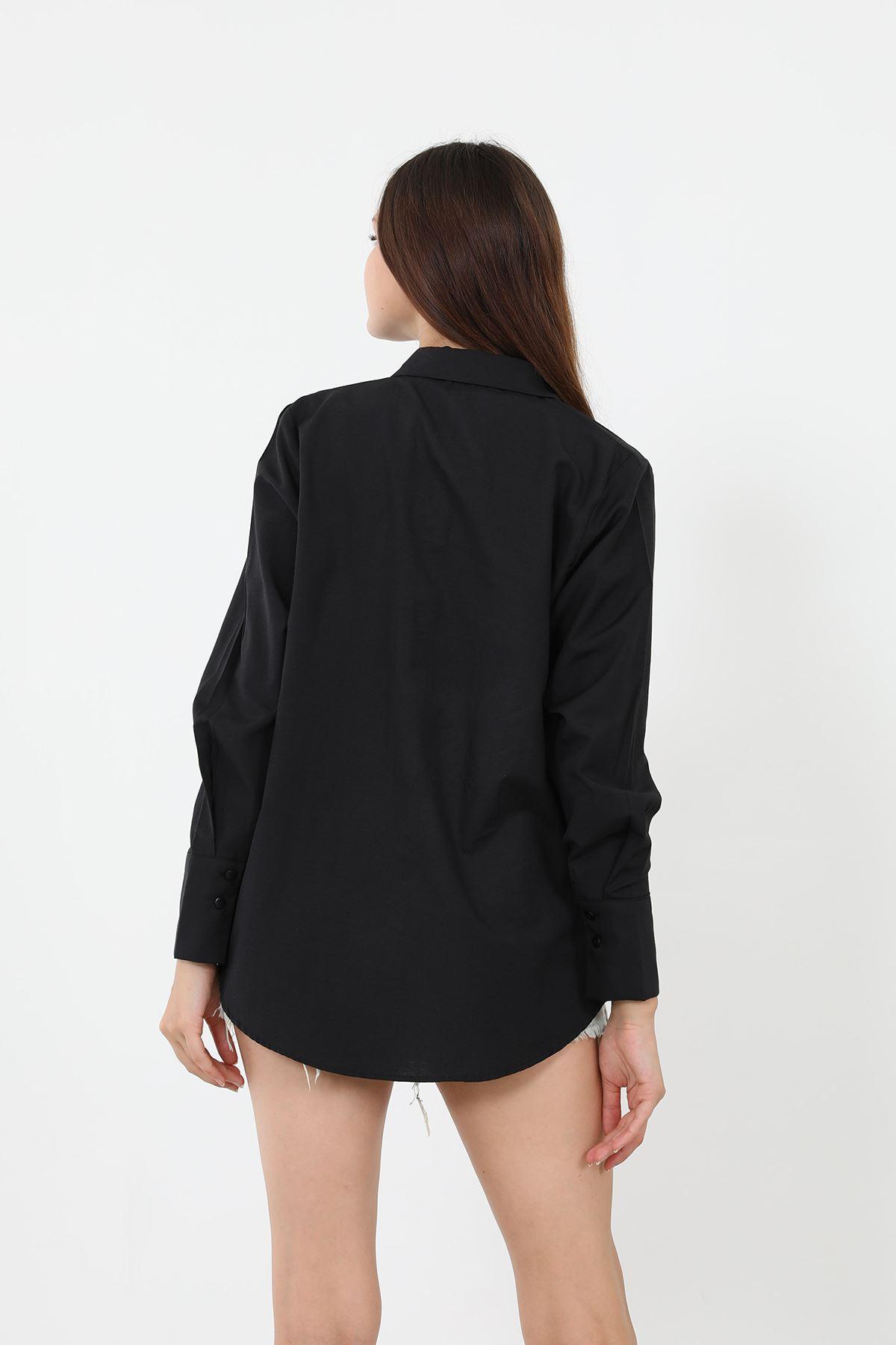 Kolu Düğmeli Poplin Gömlek-Siyah