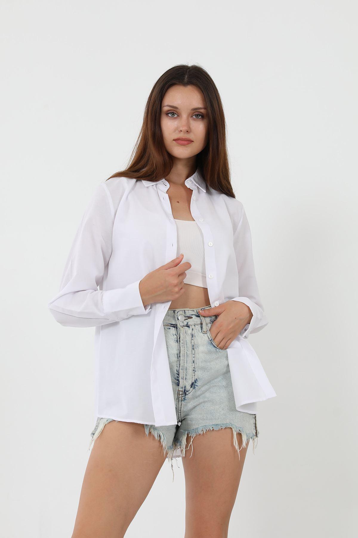 Kolu Düğmeli Poplin Gömlek-Beyaz