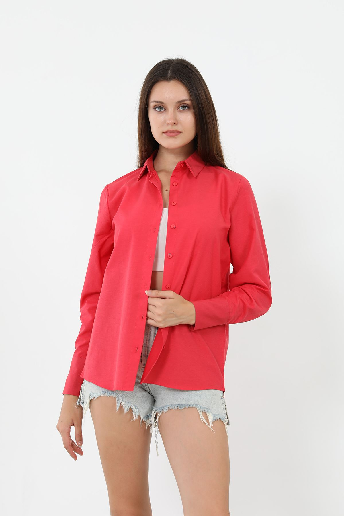 Kolu Düğmeli Poplin Gömlek-Kırmızı