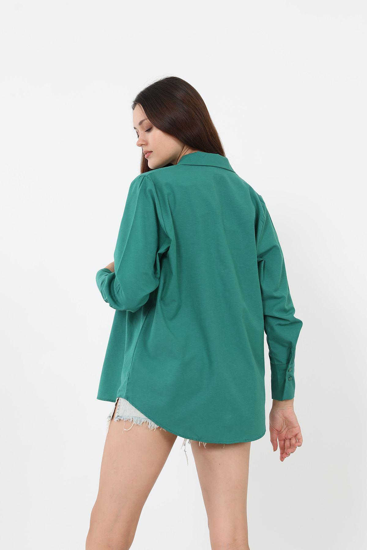 Kolu Düğmeli Poplin Gömlek-Yeşil