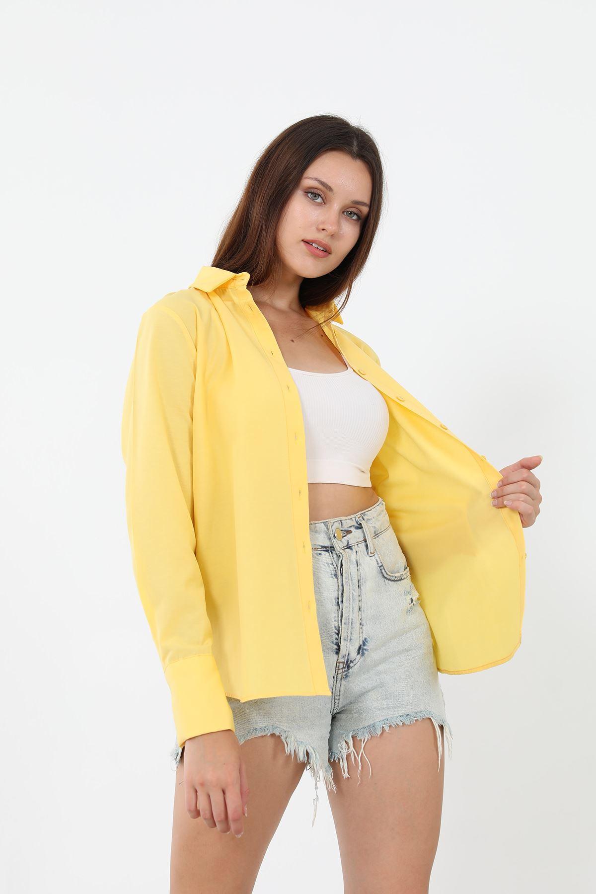 Kolu Düğmeli Poplin Gömlek-Sarı