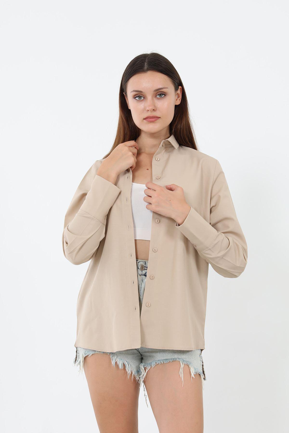 Kolu Düğmeli Poplin Gömlek-Bej