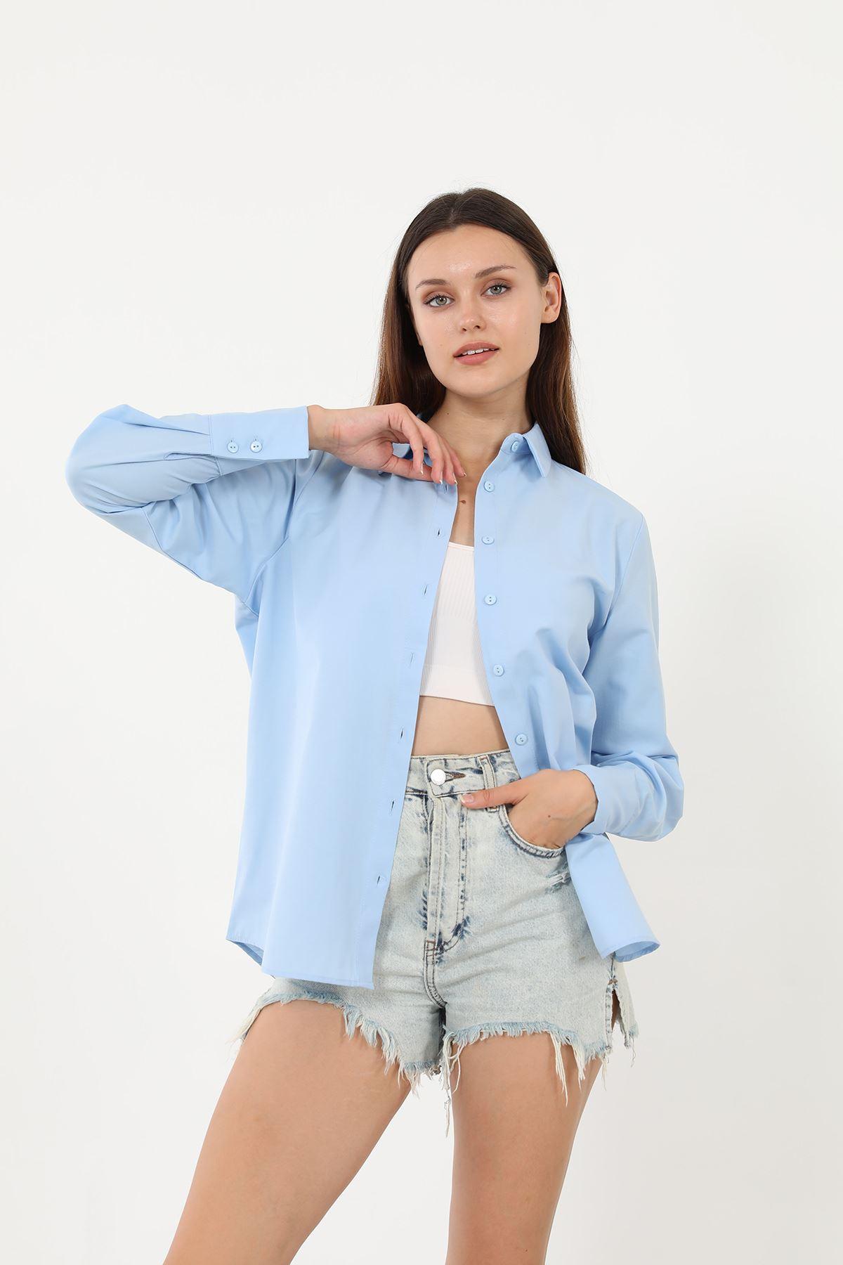 Kolu Düğmeli Poplin Gömlek-Mavi