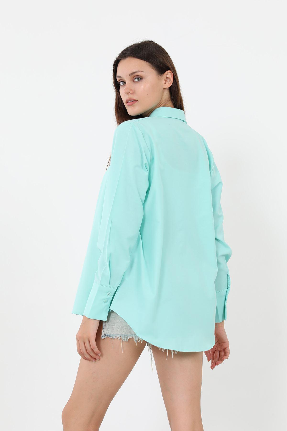 Kolu Düğmeli Poplin Gömlek-Su Yeşili