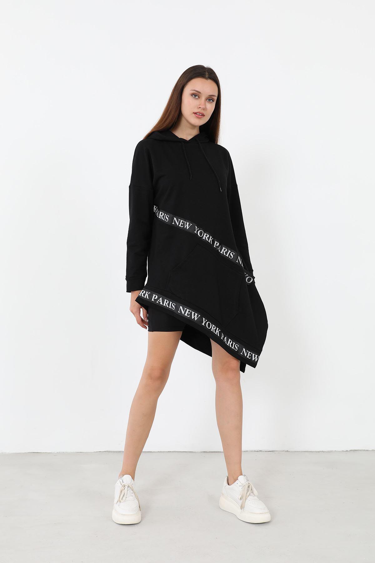Şeritli Sweatsihrt-Siyah