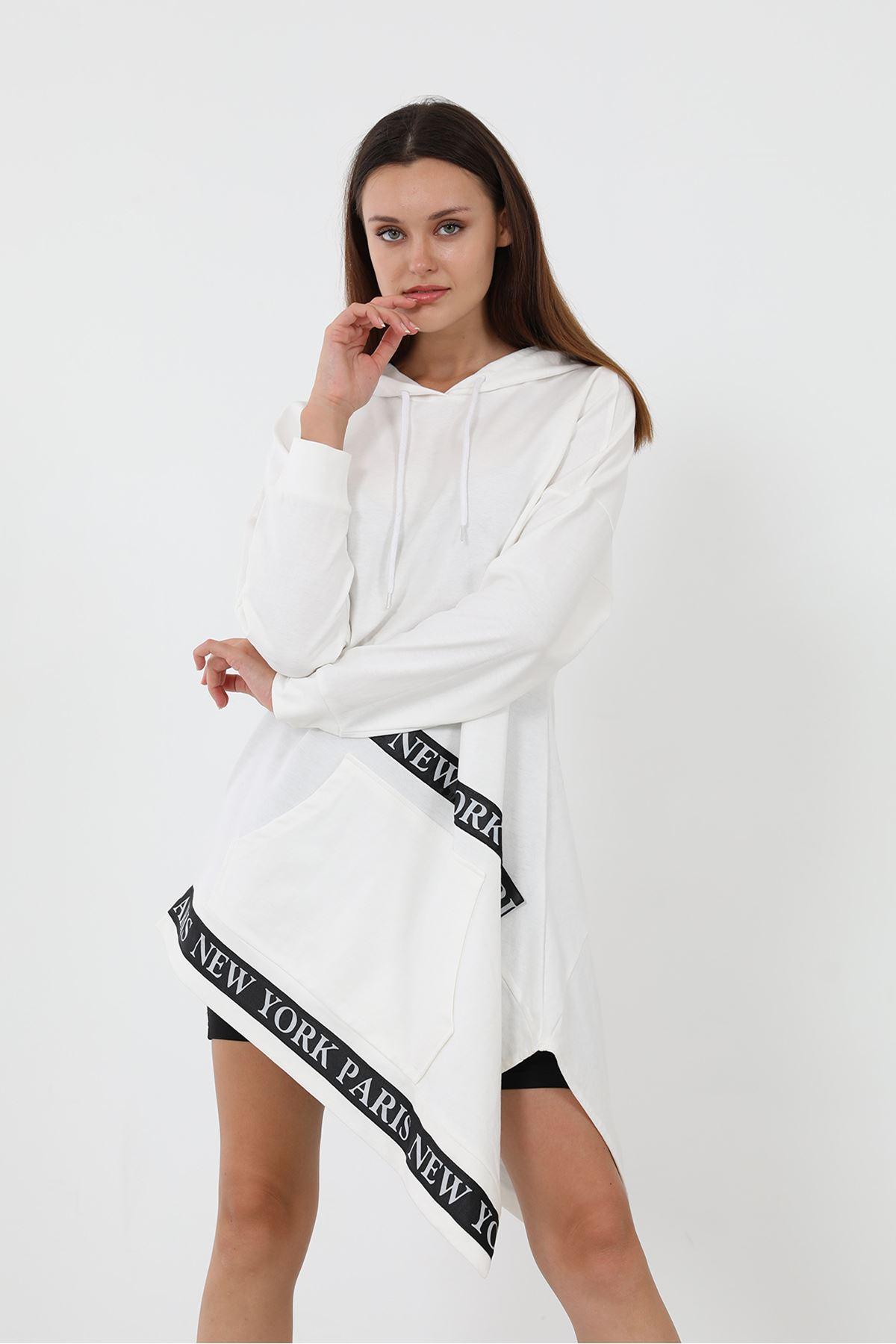 Şeritli Sweatsihrt-Beyaz