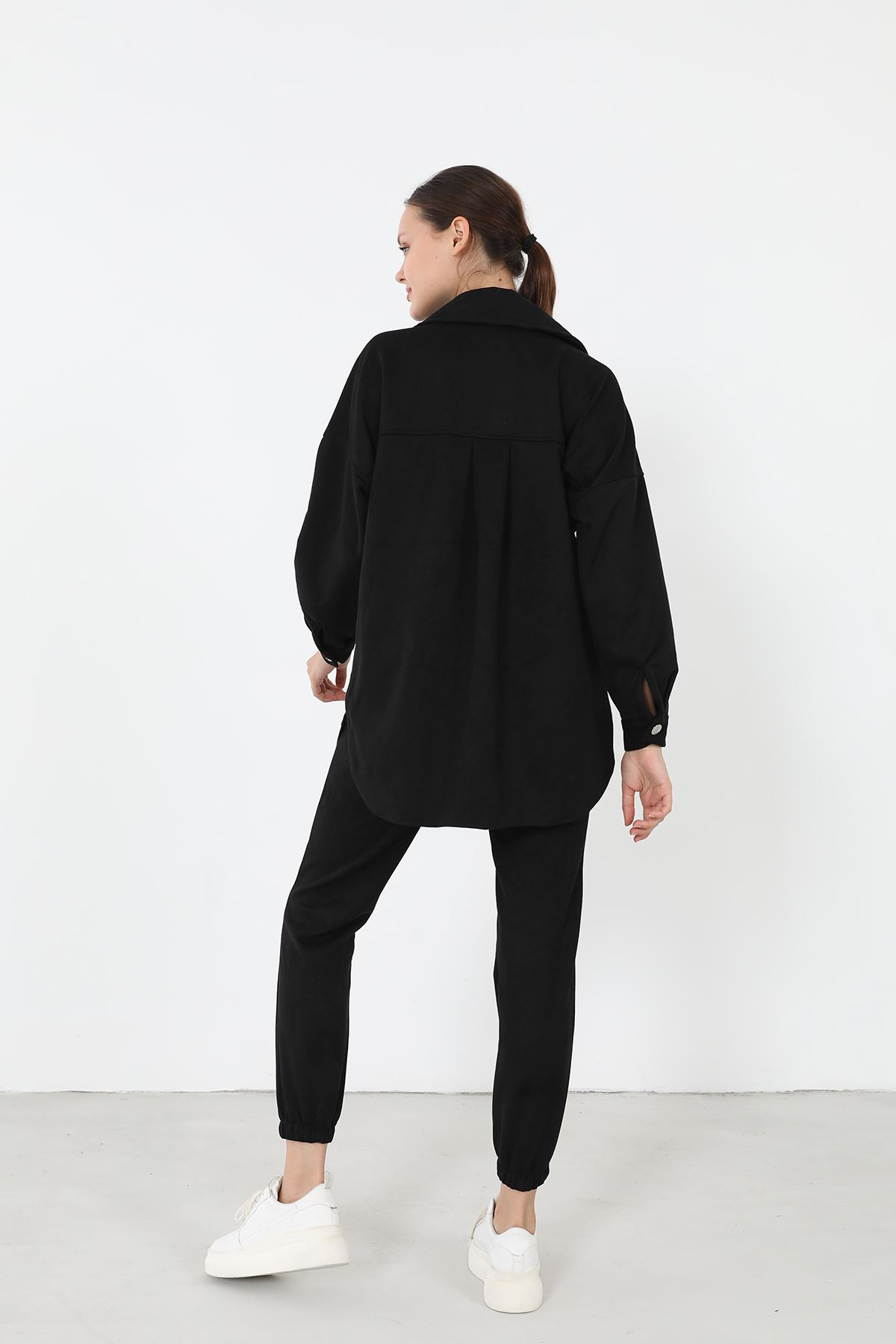 Süet Pantolon Takım-Siyah