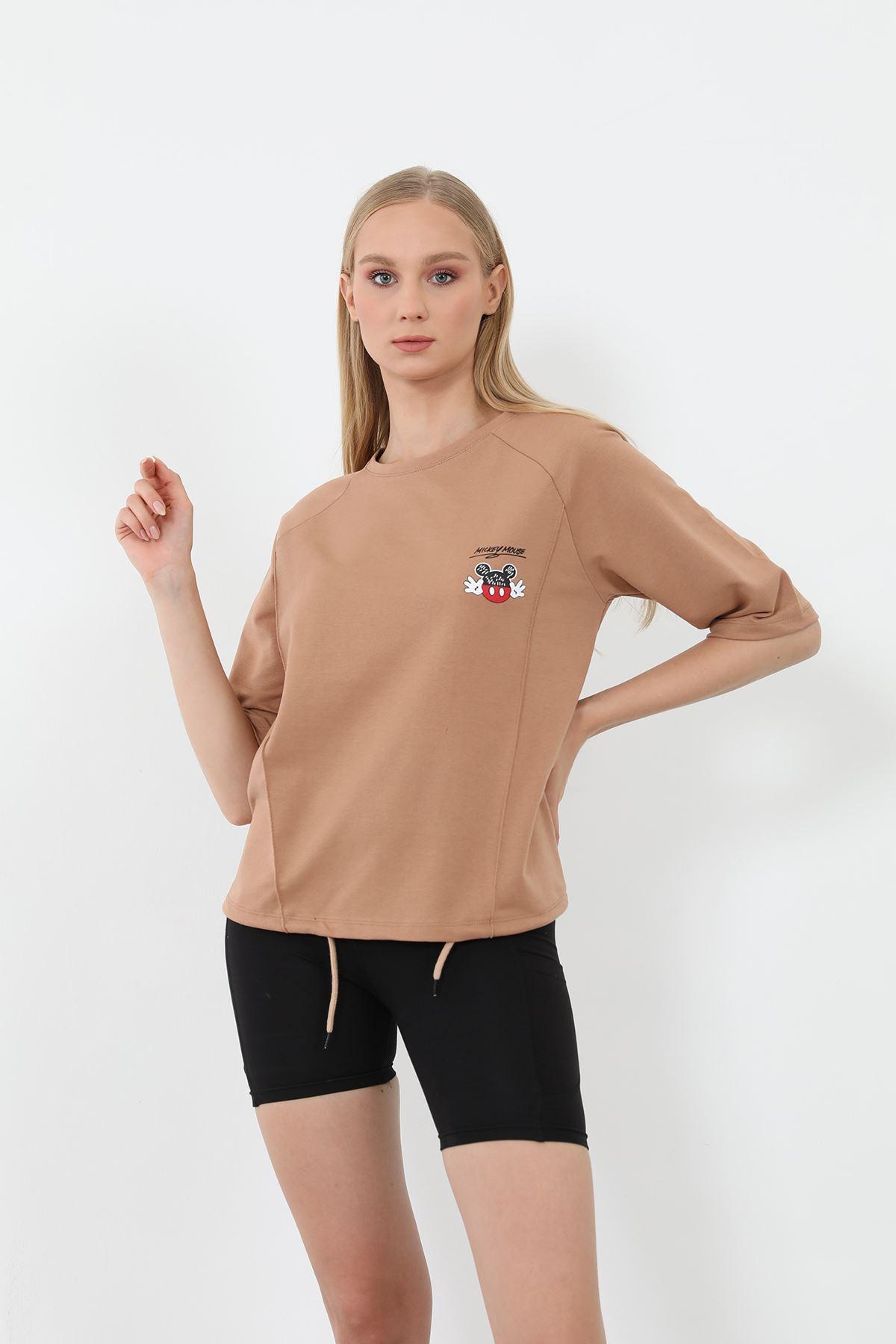 Mickey Mouse Baskılı Sweatshirt-Camel