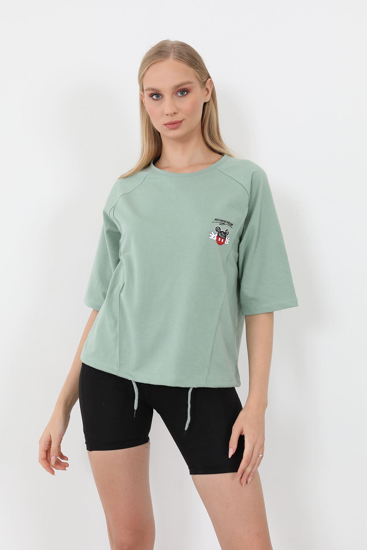 Mickey Mouse Baskılı Sweatshirt-Mint