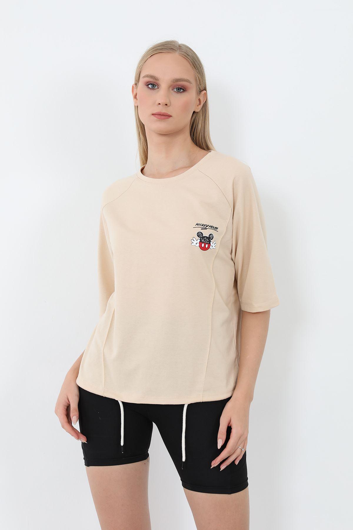 Mickey Mouse Baskılı Sweatshirt-Bej