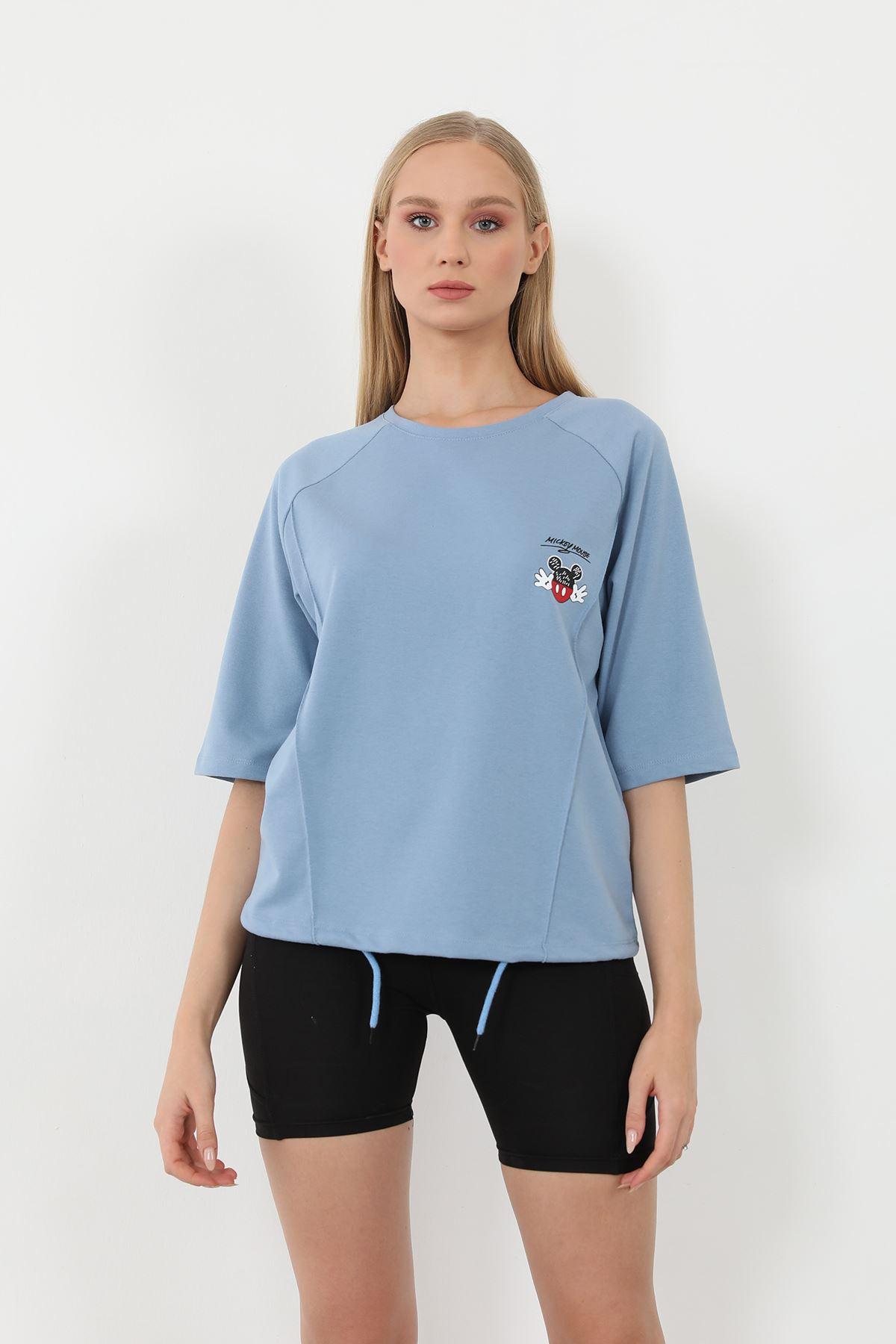 Mickey Mouse Baskılı Sweatshirt-İndigo