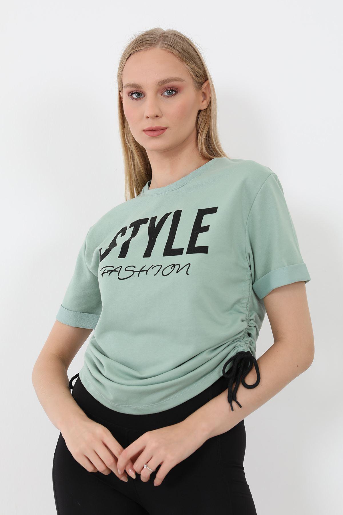 Style Baskılı Sweatshirt-Mint