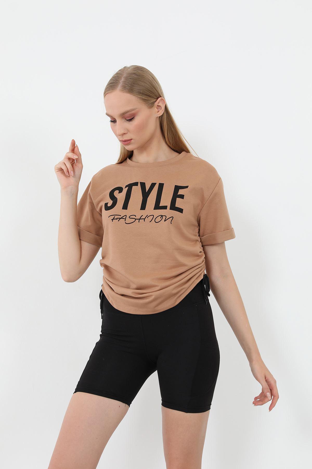 Style Baskılı Sweatshirt-Camel