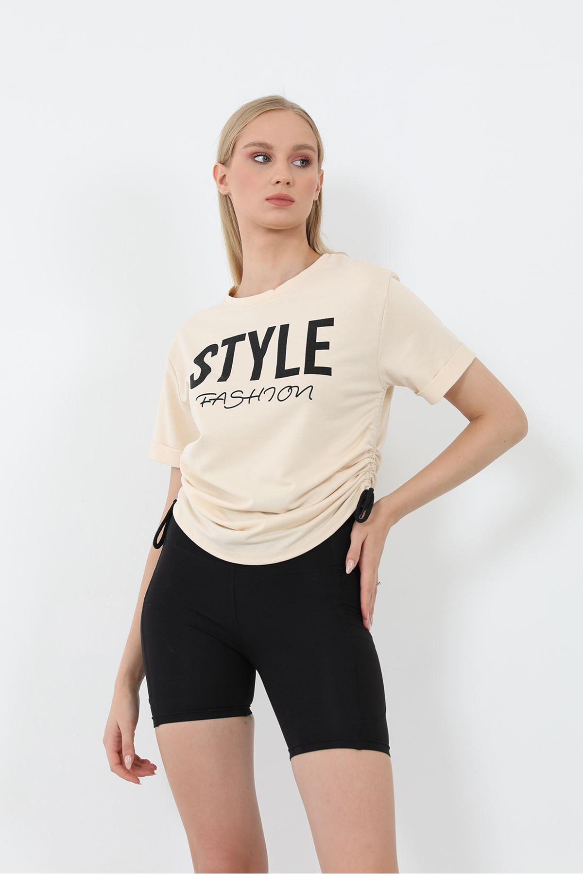 Style Baskılı Sweatshirt-Bej