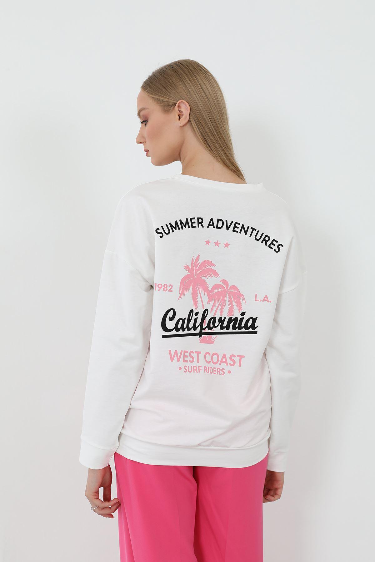 California Dreaming Baskılı Sweath-Beyaz