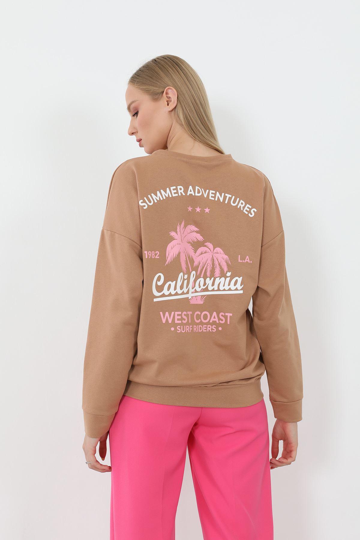 California Dreaming Baskılı Sweath-Camel