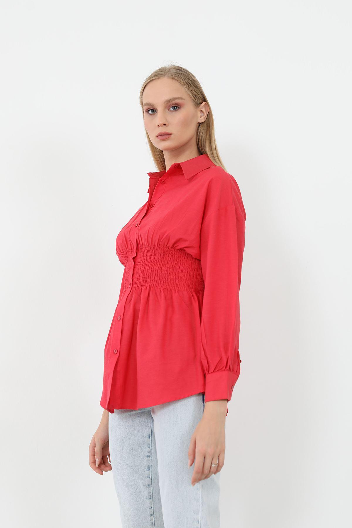 Poplin Beli Gipeli Gömlek-Kırmızı