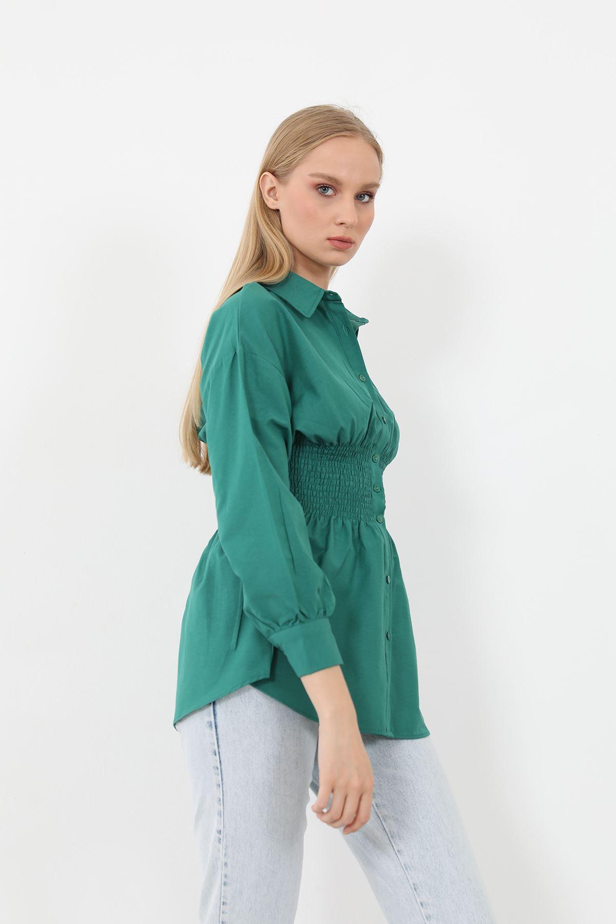Poplin Beli Gipeli Gömlek-Yeşil