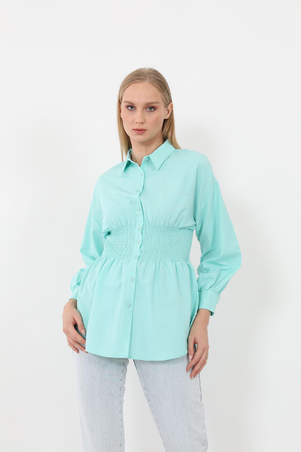 Poplin Beli Gipeli Gömlek-Su Yeşili