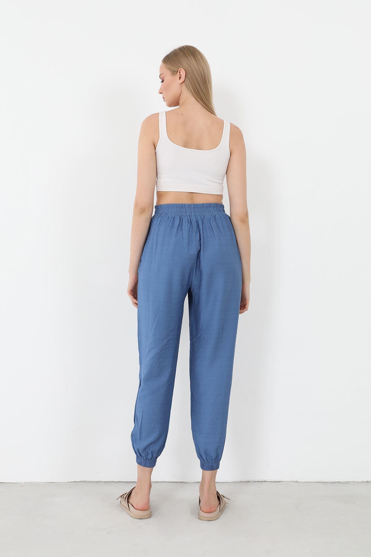 Keten Salaş Pantolon-İndigo