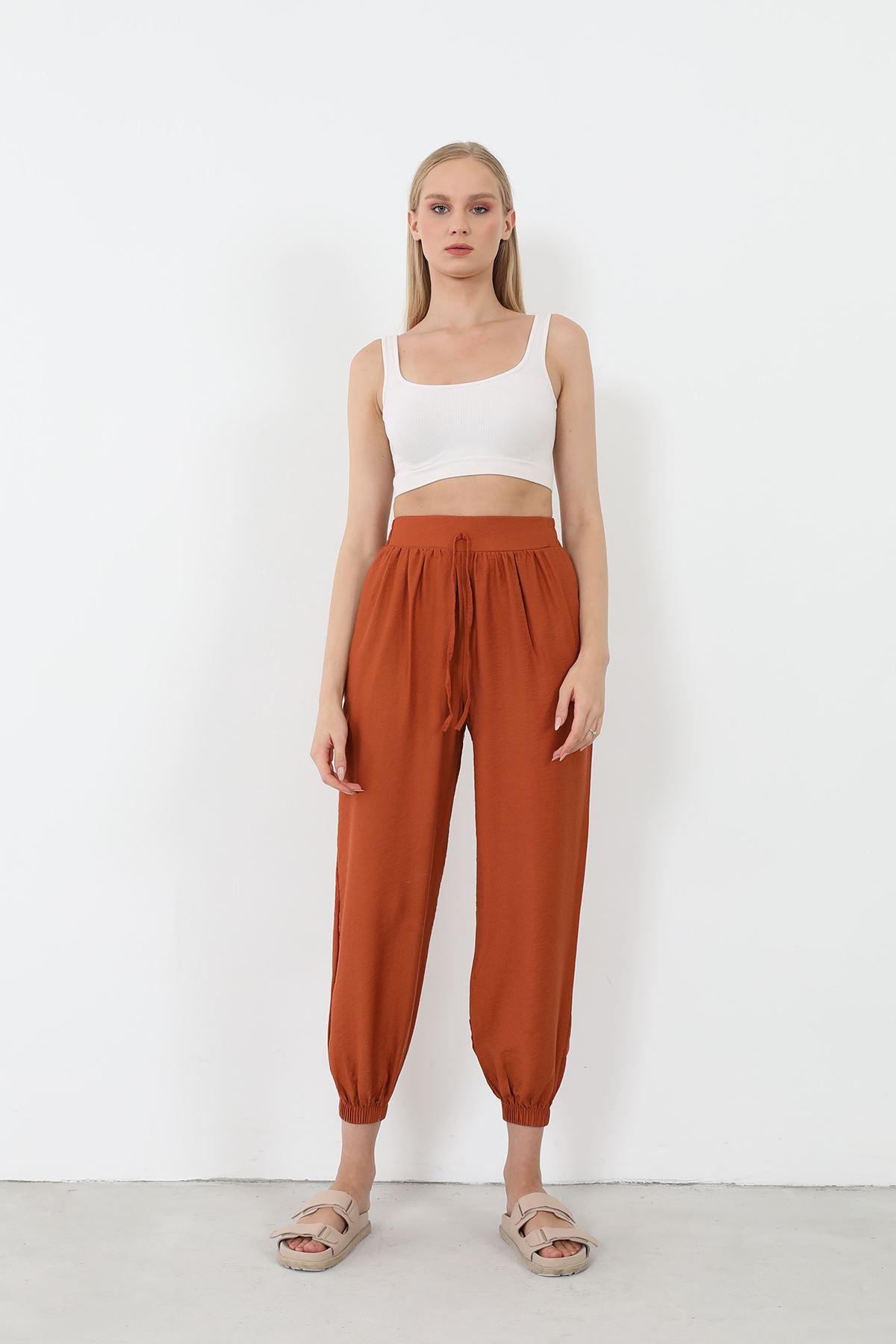 Keten Salaş Pantolon-Kiremit