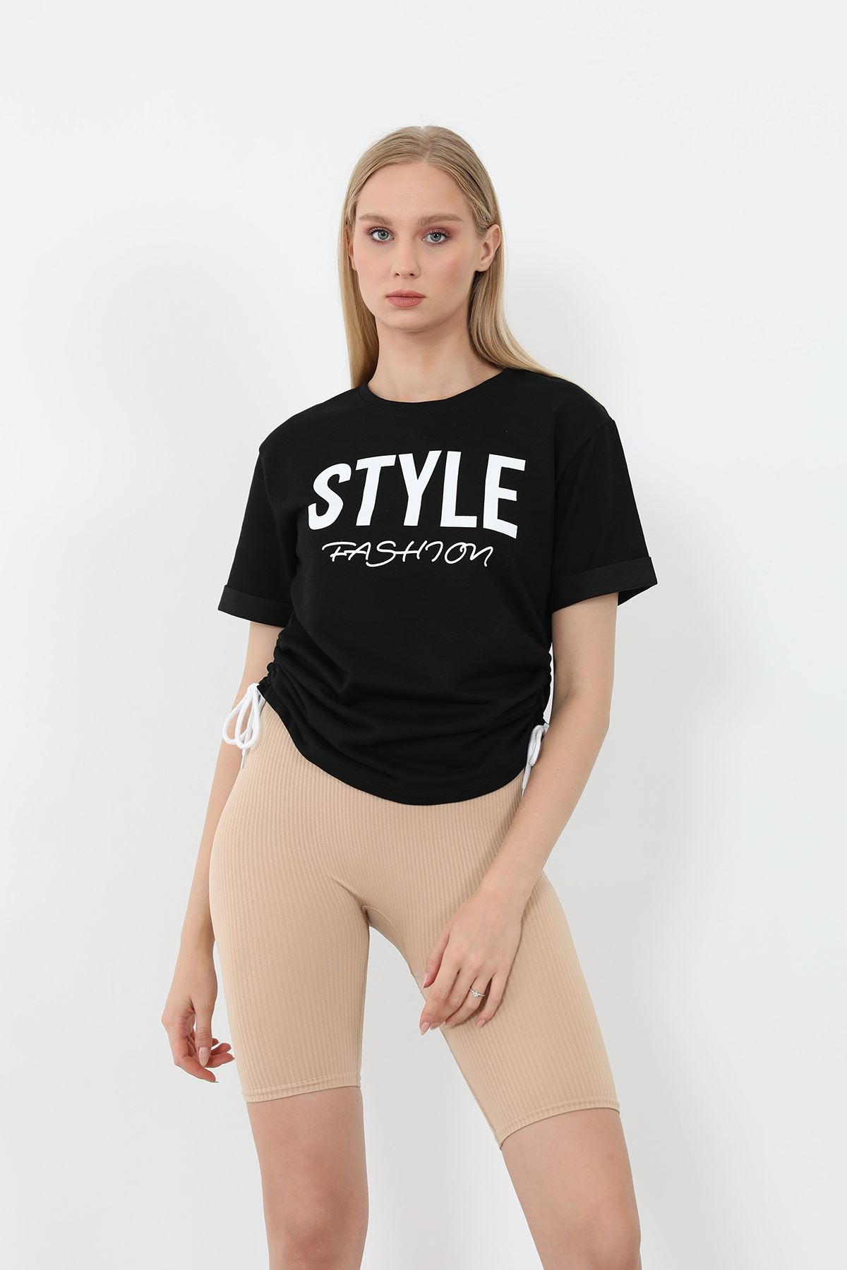 Style Baskılı Sweatshirt-Siyah