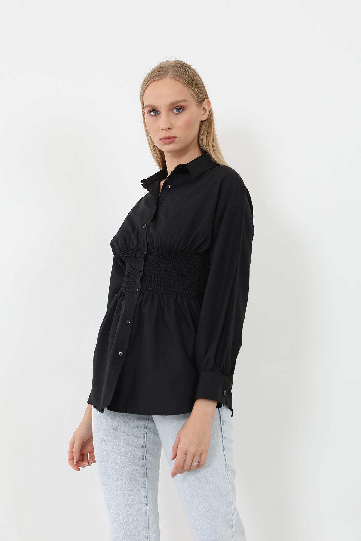 Poplin Beli Gipeli Gömlek-Siyah