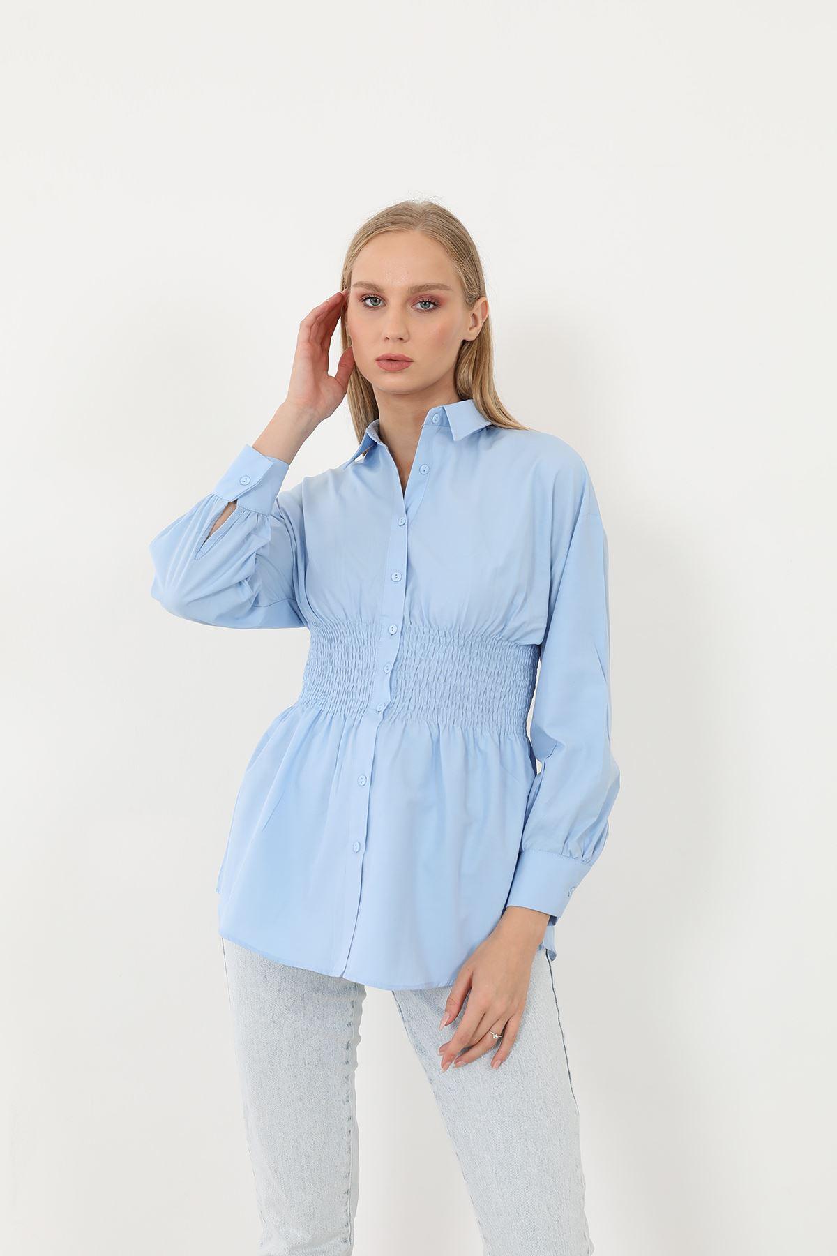 Poplin Beli Gipeli Gömlek-Mavi