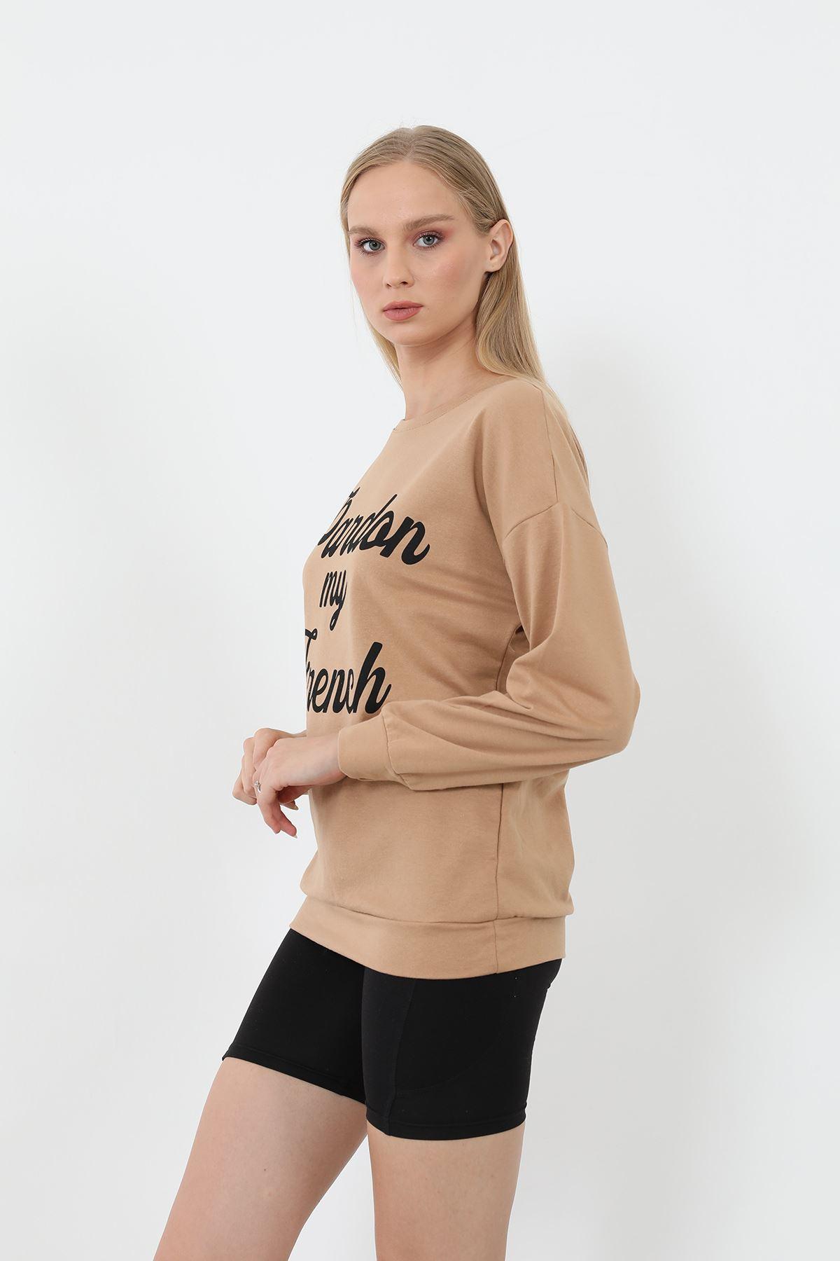Baskılı Sweatshirt-Camel